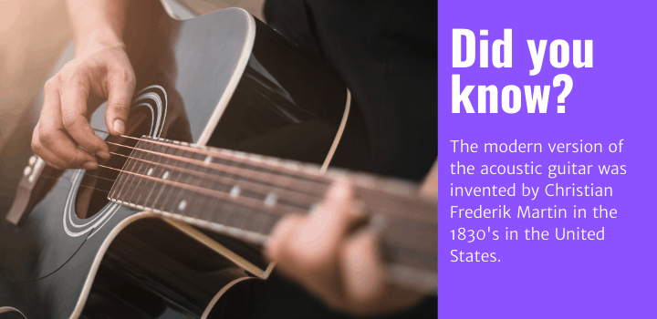 Did you know: The modern version of the acoustic guitar was invented by Christian Frederik Martin in the 1830's in the United States.