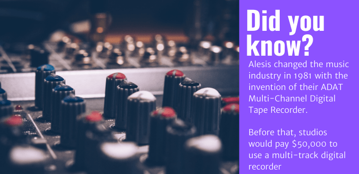 Did you know: Alesis changed the music industry in 1981 with the invention of their ADAT Multi-Channel Digital Tape Recorder. Before that, studios would pay $50,000 to use a multi-track digital recorder
