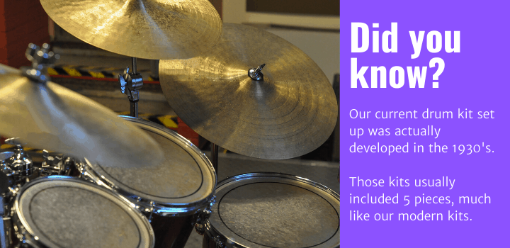 Did you know: Our current drum kit set up was actually developed in the 1930's.  Those kits usually included 5 pieces, much like our modern kits.