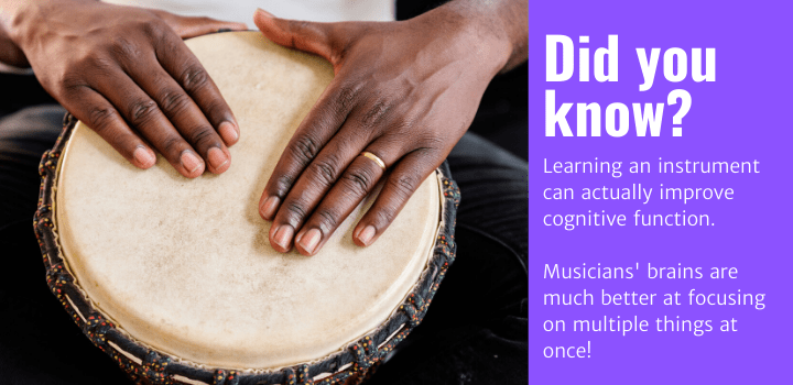 Did you know: Learning an instrument can actually improve cognitive function. Musicians' brains are much better at focusing on multiple things at once!