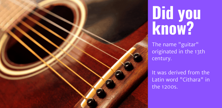 "Did you know: The name ""guitar"" originated in the 13th century. It was derived from the Latin word ""Cithara"" in the 1200s."
